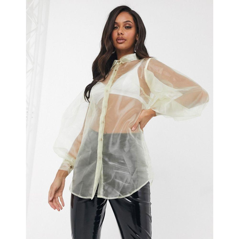 ユニーク21 UNIQUE21 レディース ブラウス・シャツ トップス【Unique 21 organza blouse in cream】Cream