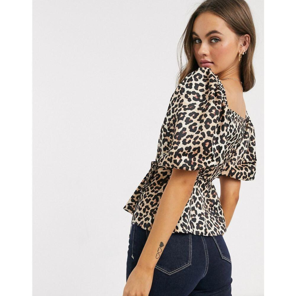 エイソス ASOS DESIGN レディース ブラウス・シャツ トップス satin tea blouse in leopard print MultinN8O0wvm
