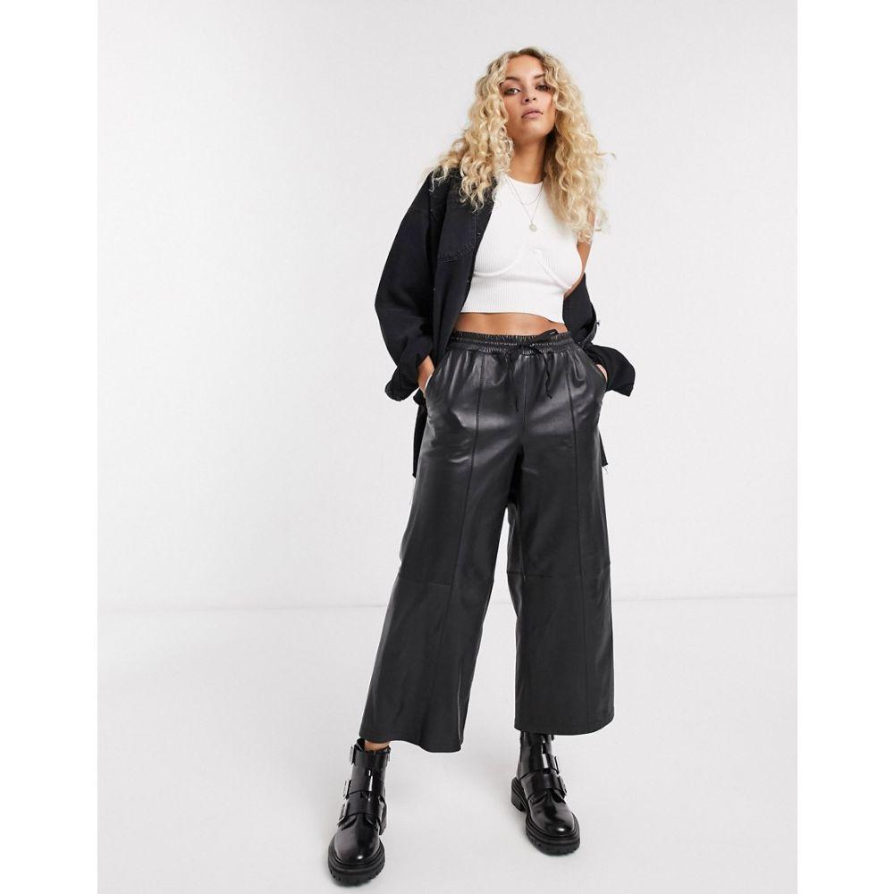 ラブレザー LAB LEATHER レディース クロップド ワイドパンツ ボトムス・パンツ【Lab Leather crop wide leg leather trousers in black】Black