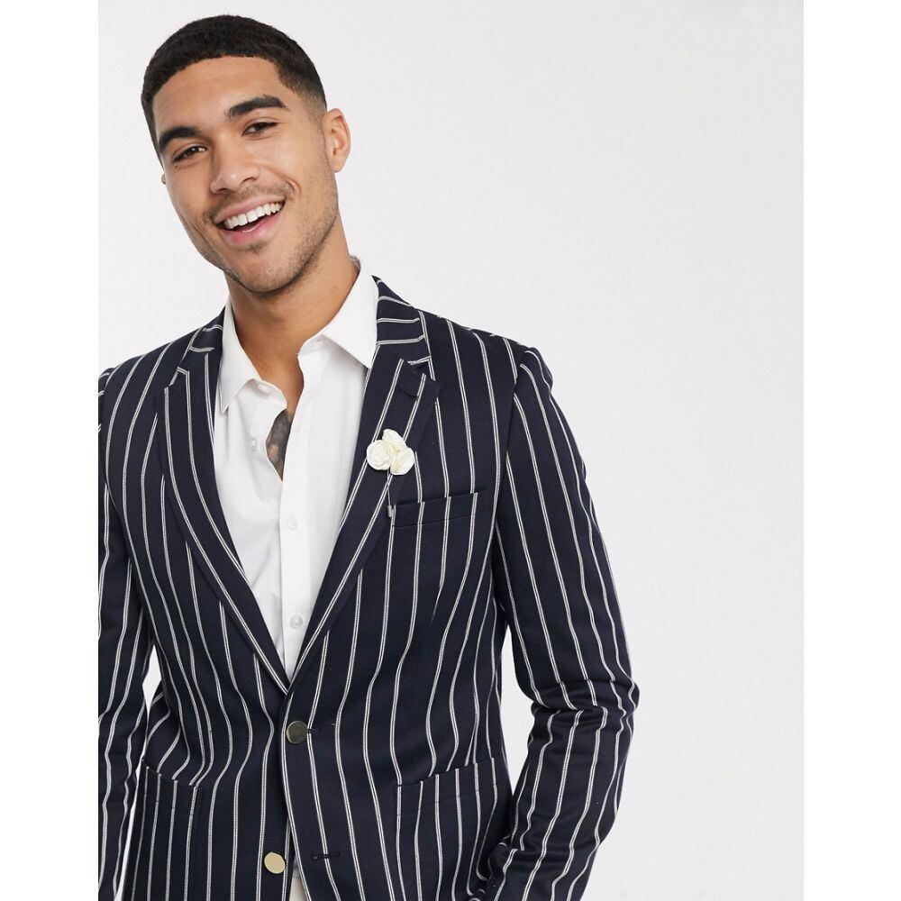 エイソス ASOS DESIGN メンズ スーツ・ジャケット アウター【slim blazer in navy stripe with gold buttons】Navy