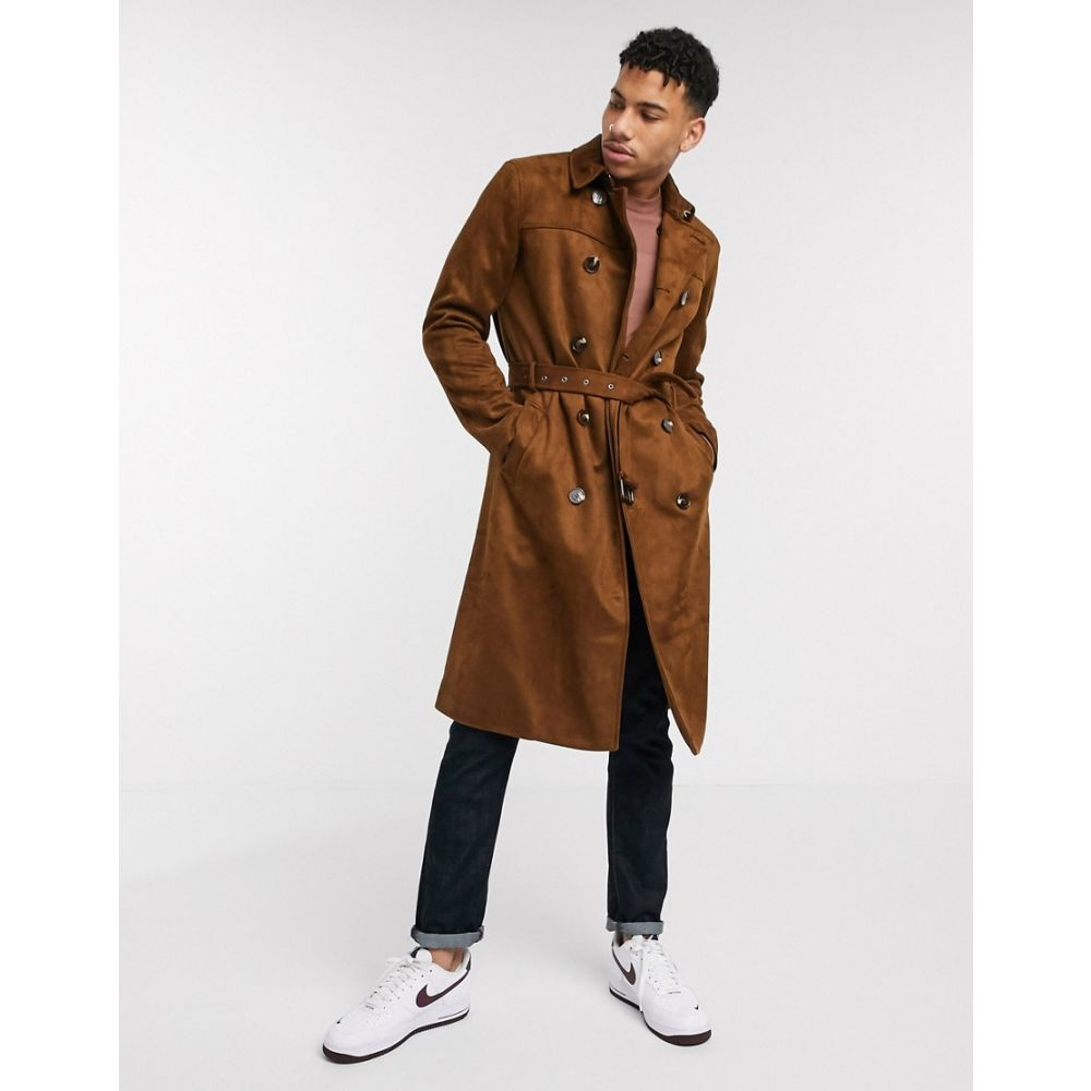 リバーアイランド River Island メンズ トレンチコート アウター【suedette trench coat in tan】Tan