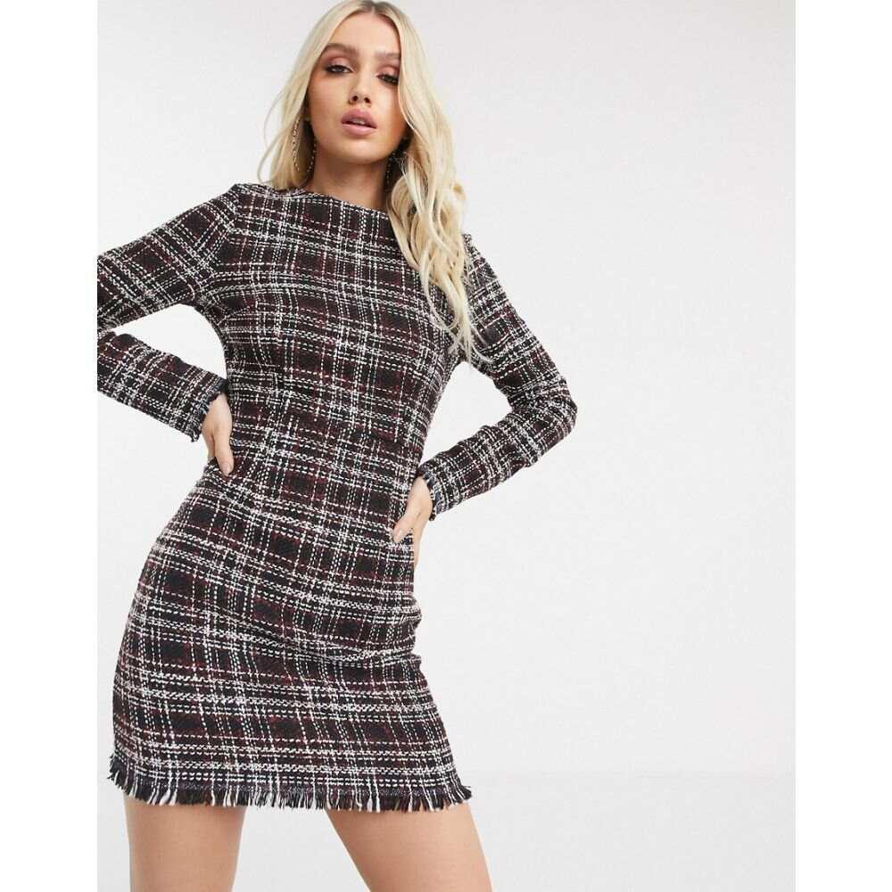 ミスガイデッド Missguided レディース ワンピース シフトドレス ワンピース・ドレス【tweed shift dress】Black