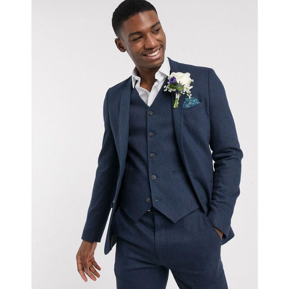 エイソス ASOS DESIGN メンズ スーツ・ジャケット アウター【wedding skinny wool mix suit jacket in navy herringbone】Navy