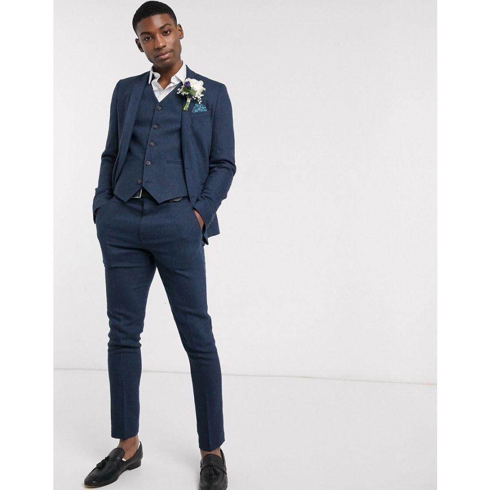 エイソス ASOS DESIGN メンズ スーツ・ジャケット アウター wedding skinny wool mix suit jacket in navy herringbone NavyTkZiuOPX