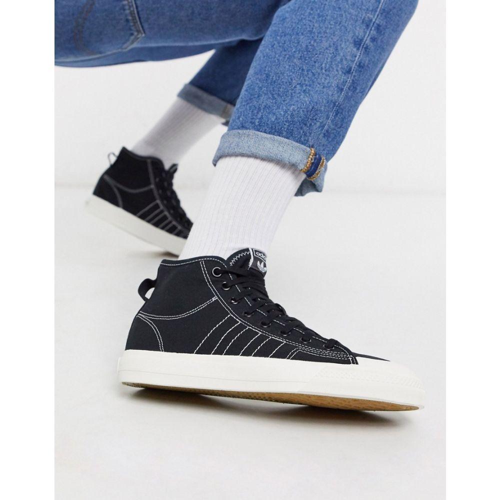 アディダス adidas Originals メンズ スニーカー シューズ・靴【nizza hi top trainers in canvas black】Black