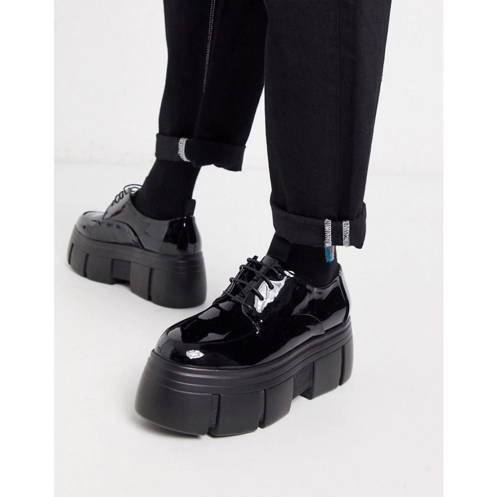 エイソス ASOS DESIGN メンズ シューズ・靴 【lace up shoes in black patent faux leather with chunky platform sole】Black
