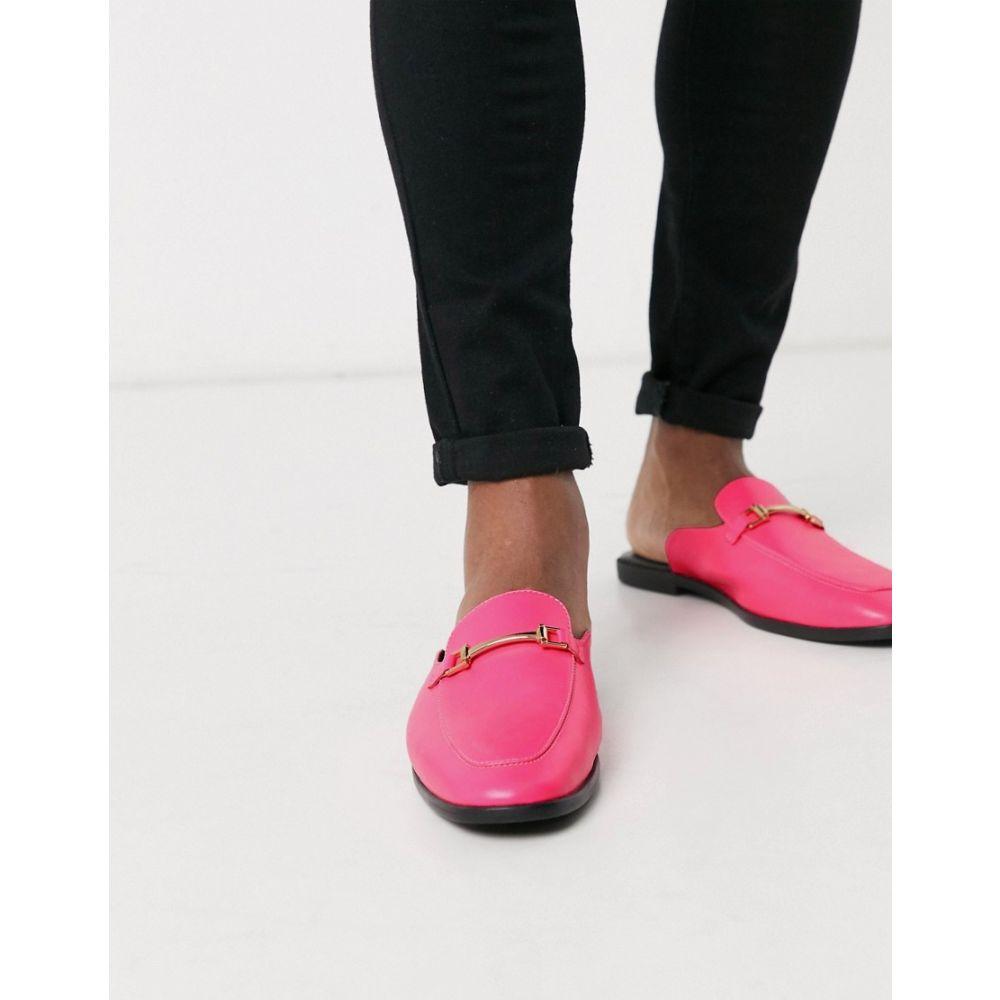 エイソス ASOS DESIGN メンズ ローファー シューズ・靴【backless mule loafer in pink faux leather】Pink