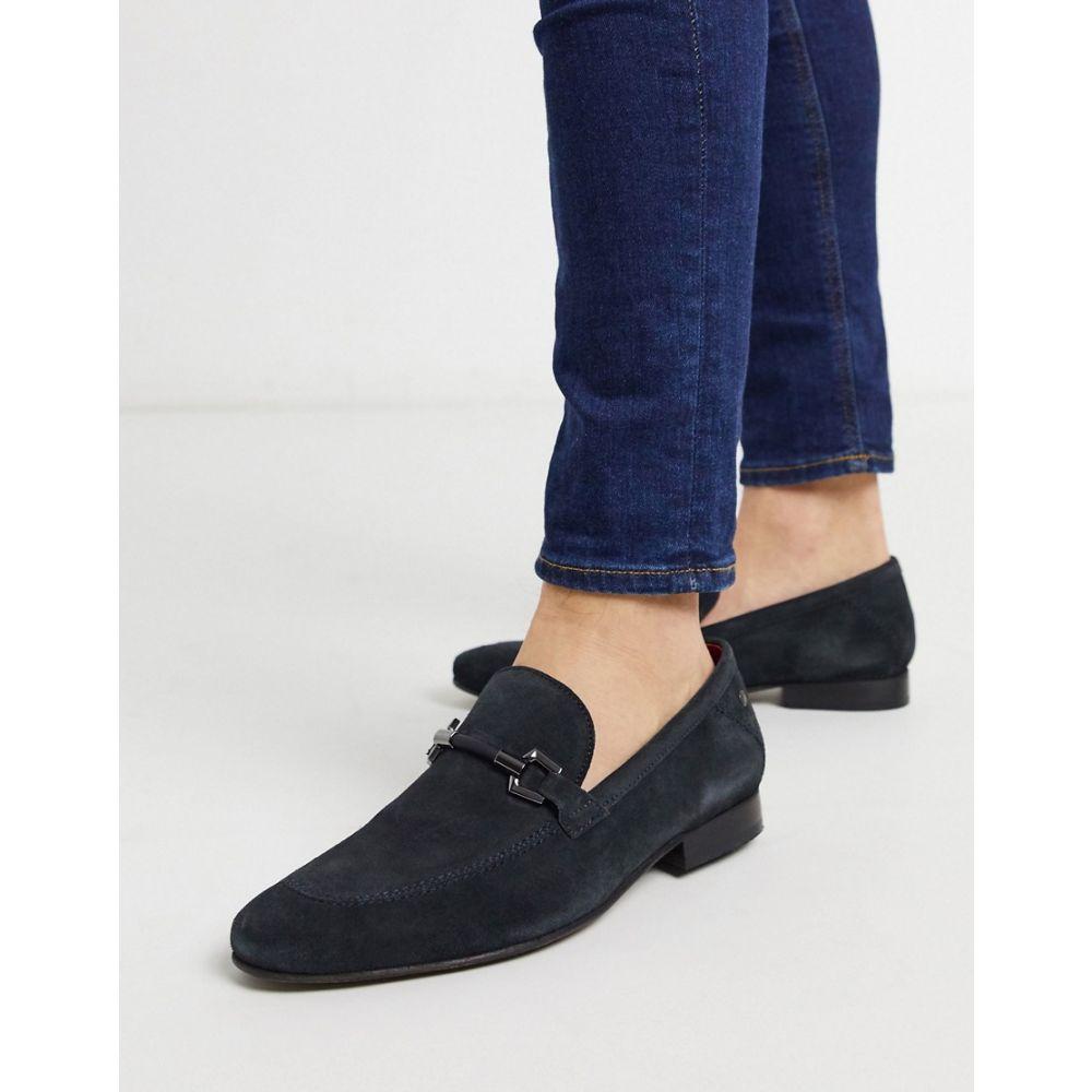 ベース ロンドン Base London メンズ ローファー シューズ・靴【Soprano bar loafers navy suede】Blue