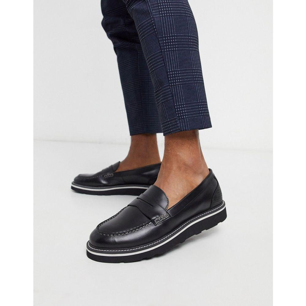 フゥード Feud メンズ ローファー シューズ・靴【London leather loafer in black/snake】Black