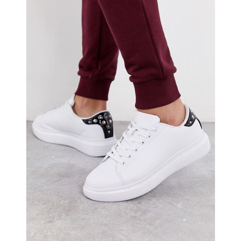 トリュフコレクション Truffle Collection メンズ スニーカー チャンキーヒール シューズ・靴【chunky white trainer with studded black tab】White