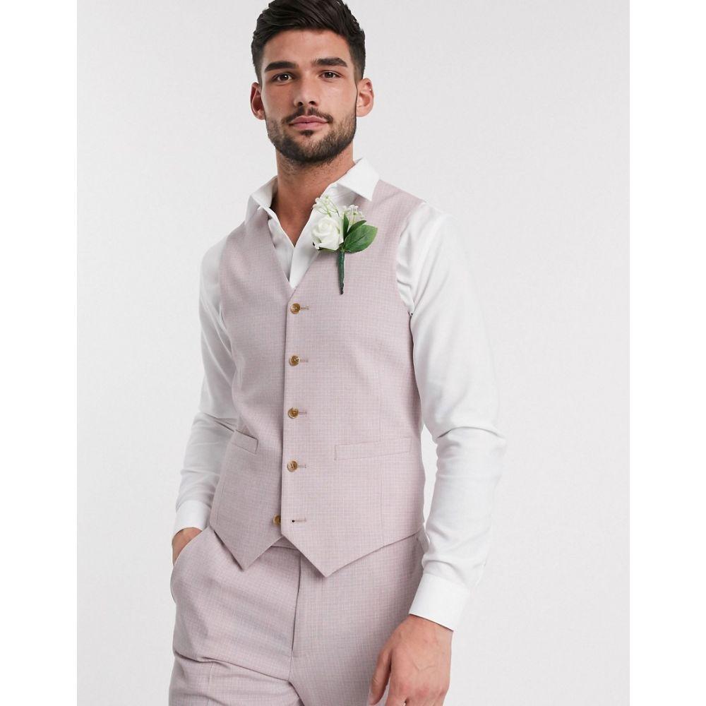 エイソス ASOS DESIGN メンズ ベスト・ジレ トップス【wedding skinny suit waistcoat in crosshatch in rose pink】Pink