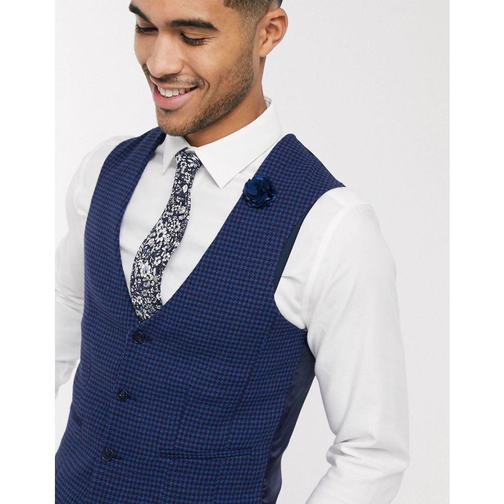 エイソス ASOS DESIGN メンズ ベスト・ジレ トップス【wedding super skinny suit waistcoat in blue wool blend micro houndstooth】Blue