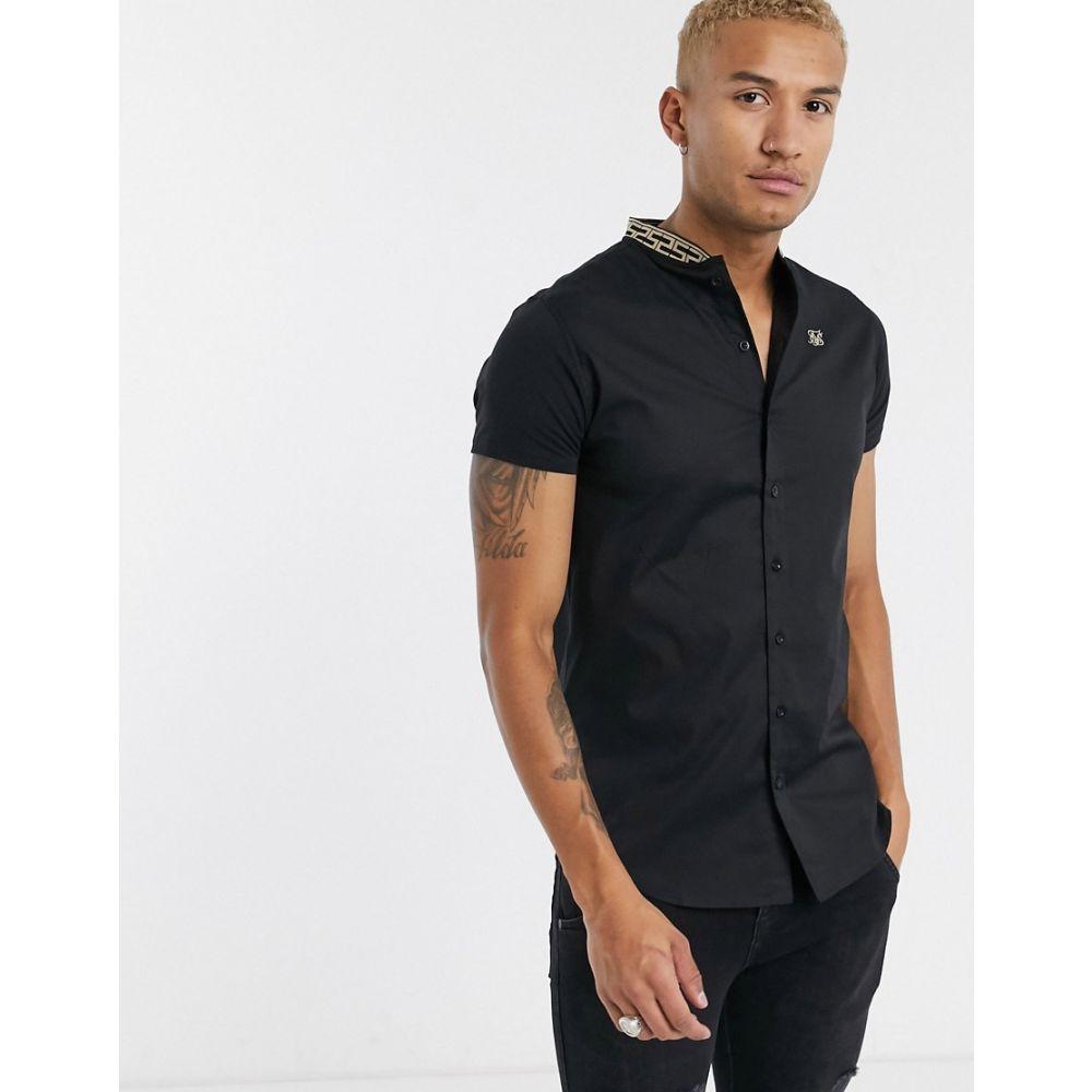 シックシルク SikSilk メンズ 半袖シャツ トップス【short sleeve shirt with tape grandad collar in black】Black