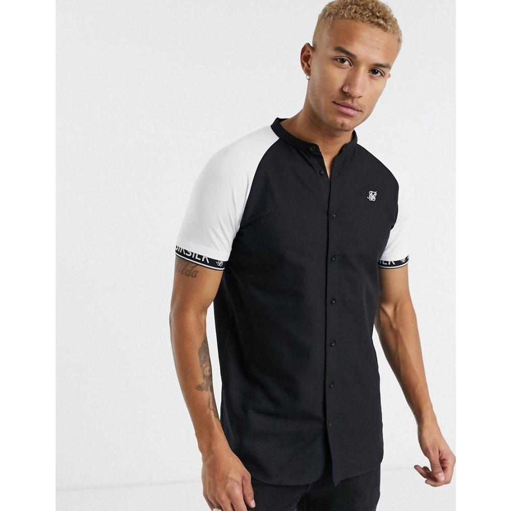 シックシルク SikSilk メンズ 半袖シャツ トップス【short sleeve shirt in black with contrast sleeves】Black