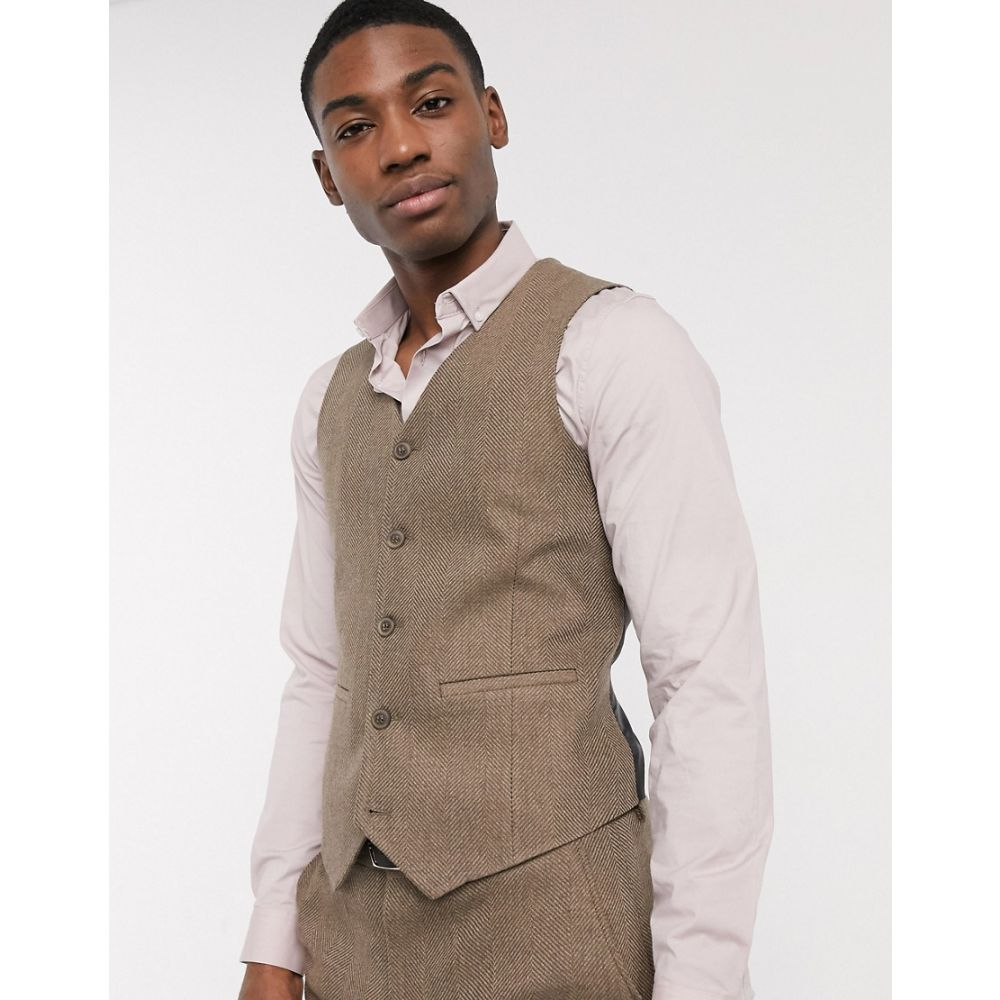 エイソス ASOS DESIGN メンズ ベスト・ジレ トップス【wedding skinny wool mix suit waistcoat in camel herringbone】Camel