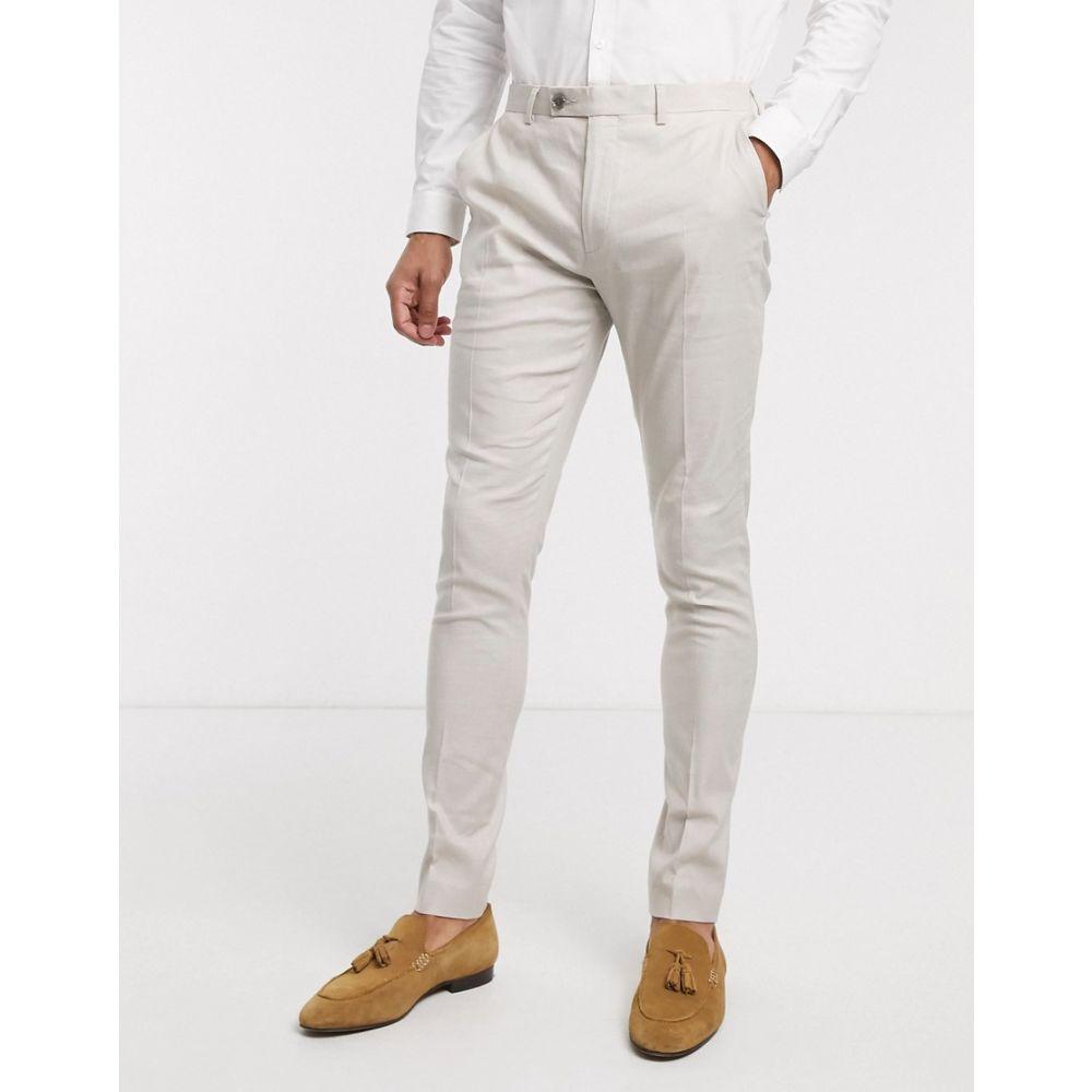 エイソス ASOS DESIGN メンズ スラックス ボトムス・パンツ【wedding super skinny suit trousers in stretch cotton linen in stone】Stone