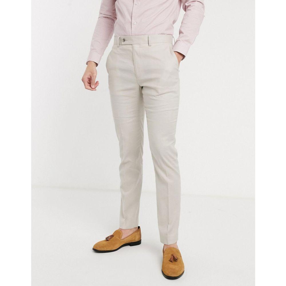 エイソス ASOS DESIGN メンズ スラックス ボトムス・パンツ【wedding skinny suit trousers in stretch cotton linen in stone】Stone