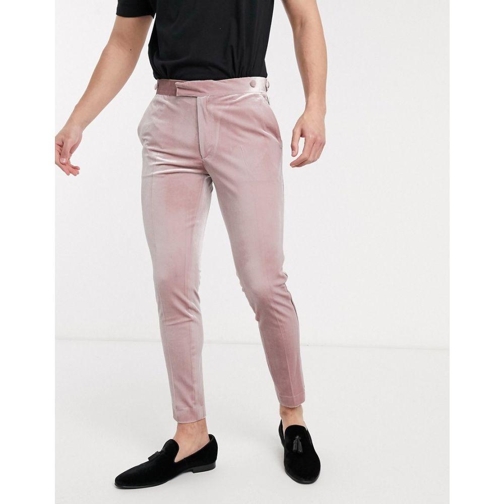 エイソス ASOS DESIGN メンズ スラックス タキシード ボトムス・パンツ【wedding super skinny tuxedo suit trousers in dusky pink velvet】Pink