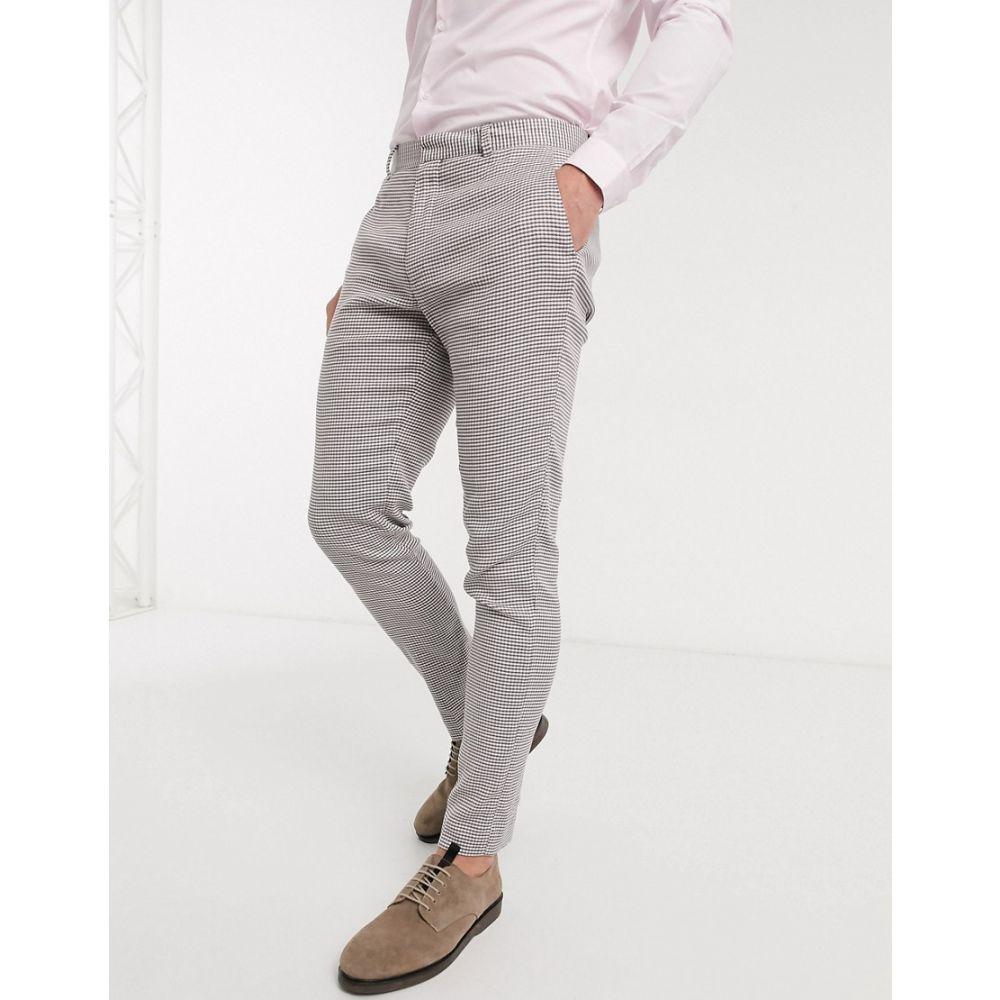 エイソス ASOS DESIGN メンズ スラックス ボトムス・パンツ【super skinny suit trousers in grey linen blend houndstooth】Grey