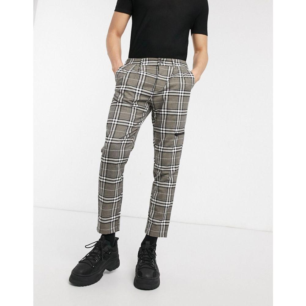 エイソス ASOS DESIGN メンズ ボトムス・パンツ 【cigarette trousers in check with zip pocket】Grey