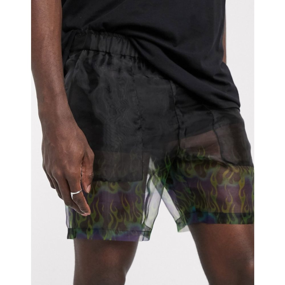 エイソス ASOS DESIGN メンズ ショートパンツ ボトムス・パンツ【slim shorter shorts in sheer flame print】Black