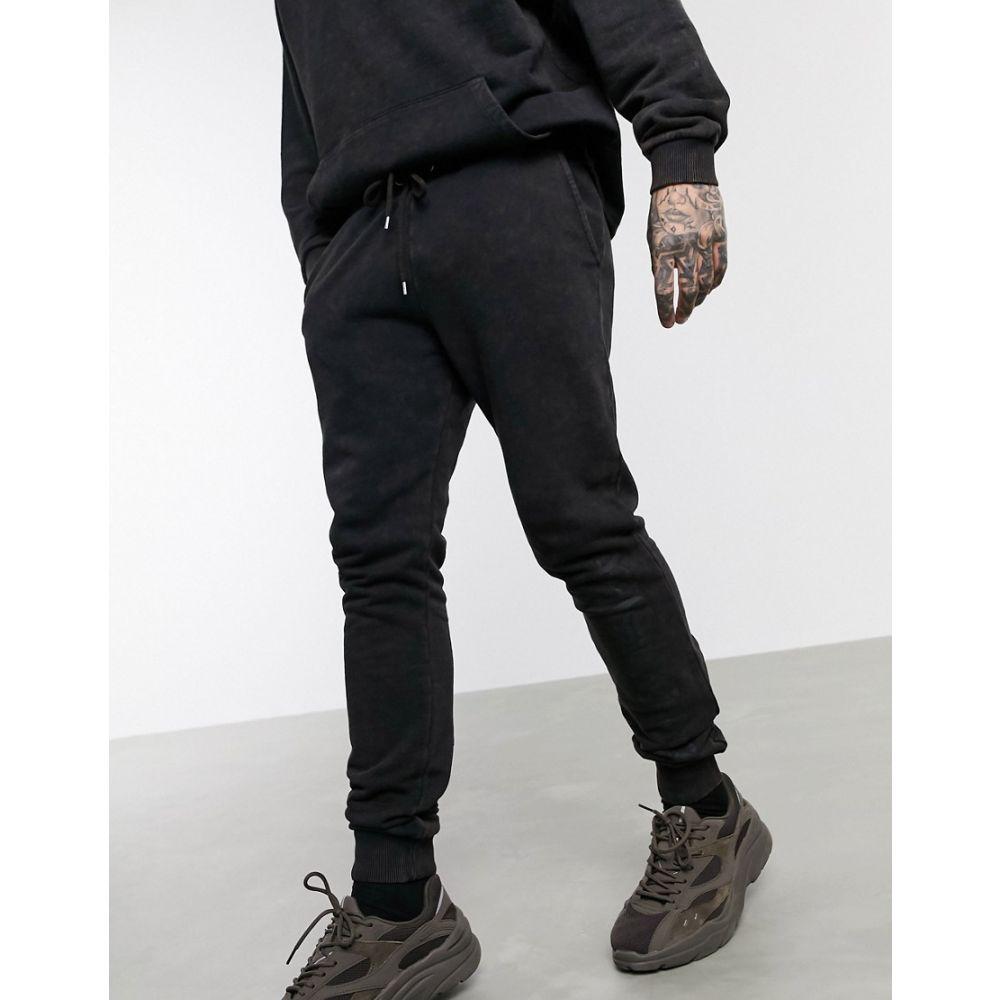 エイソス ASOS DESIGN メンズ ジョガーパンツ ボトムス・パンツ【co-ord skinny joggers in black acid wash with print】Black