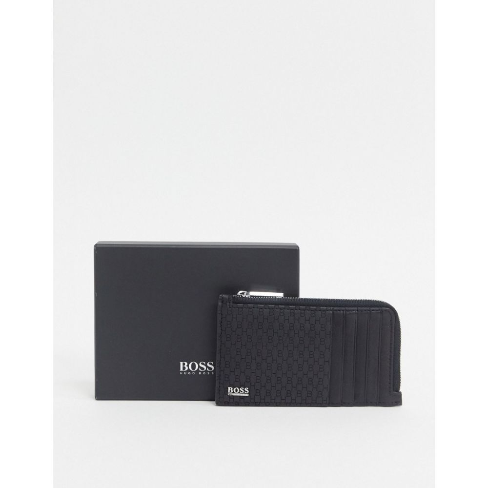 ヒューゴ ボス BOSS メンズ 財布 【Crosstown leather zip coin cardholder in black】Black