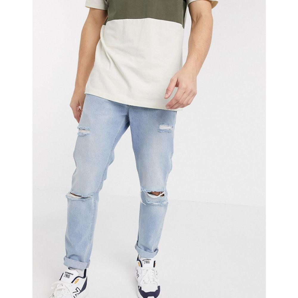 エイソス ASOS DESIGN メンズ ジーンズ・デニム ボトムス・パンツ【rigid slim jeans in blue with heavy rips】Blue