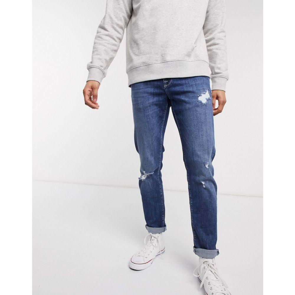 エイソス ASOS DESIGN メンズ ジーンズ・デニム ボトムス・パンツ【stretch slim jeans in dark wash blue with abrasions】Dark wash blue
