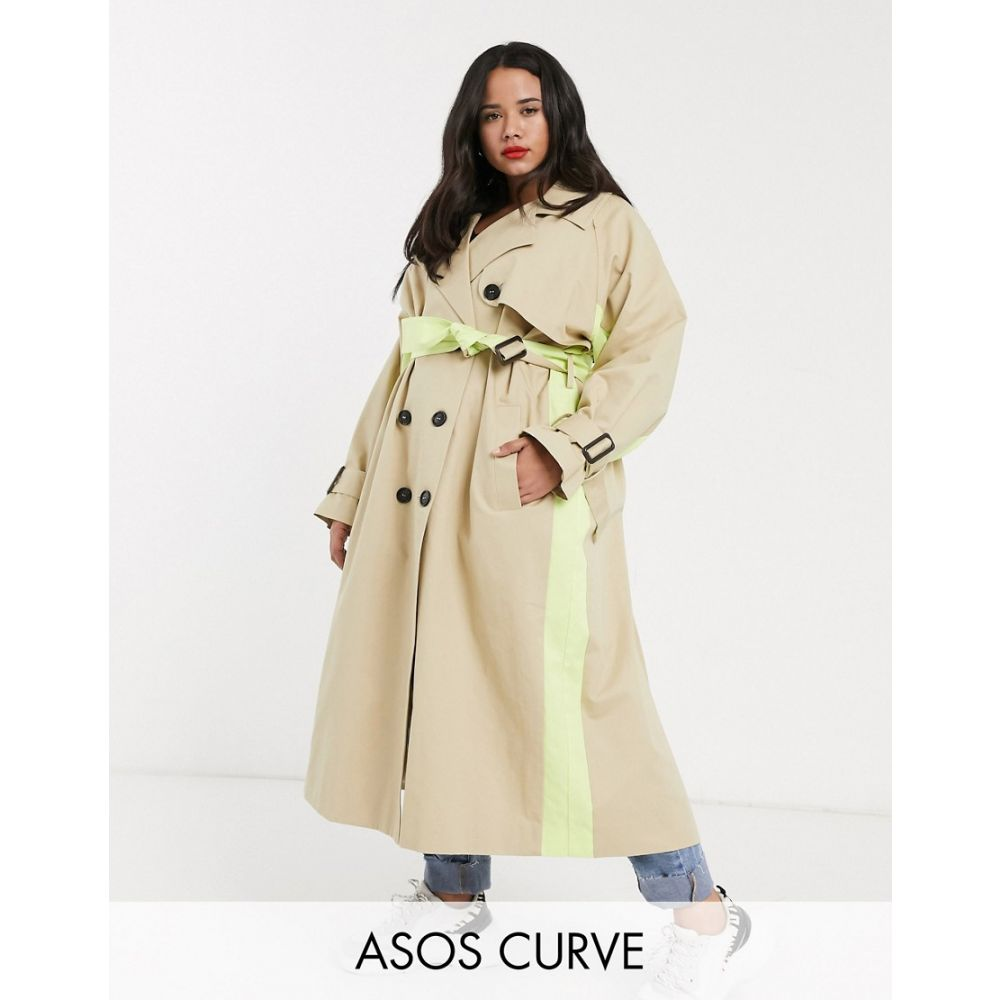 エイソス ASOS Curve レディース トレンチコート アウター【ASOS DESIGN Curve neon spliced trench coat in stone】Stone
