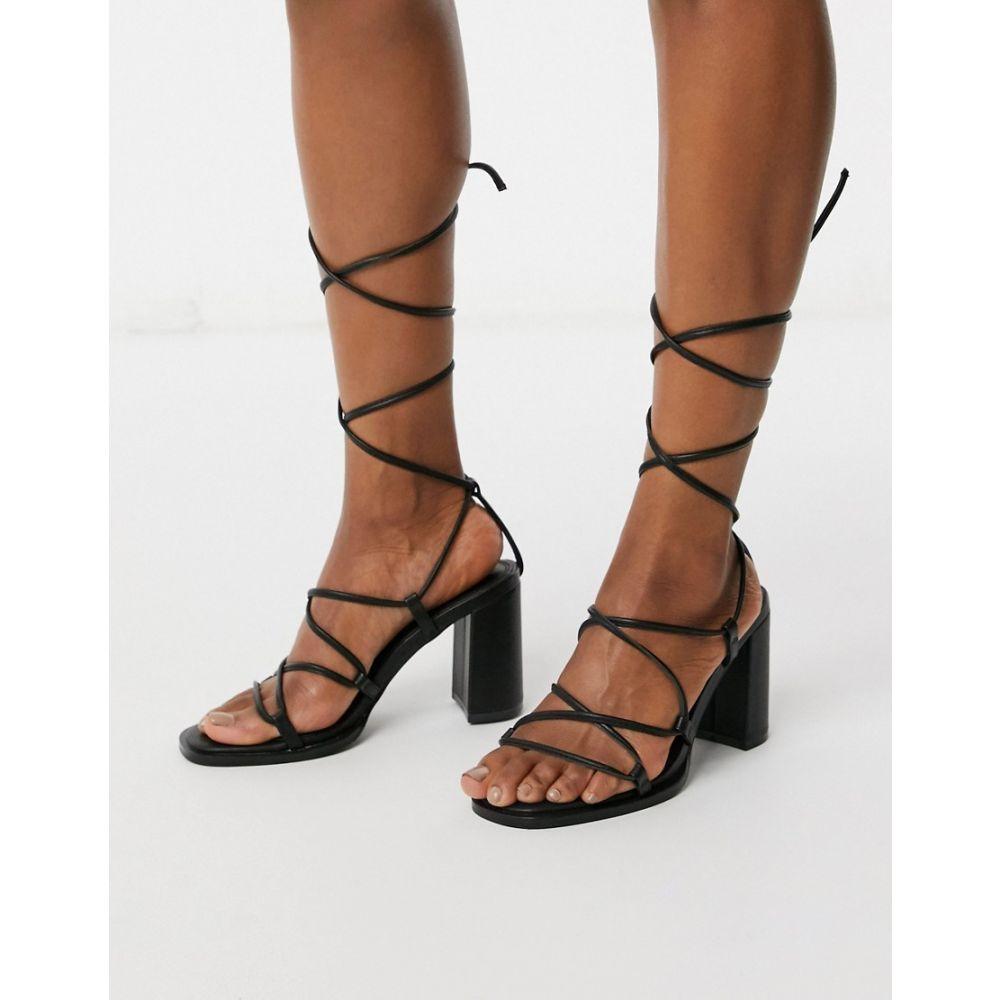 エイソス ASOS DESIGN レディース サンダル・ミュール シューズ・靴【Hero mid-heeled sandals in black】Black