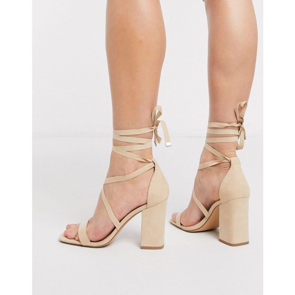 ロンドン レーベル London Rebel レディース サンダル・ミュール シューズ・靴【tie leg heeled sandals in beige】Beige