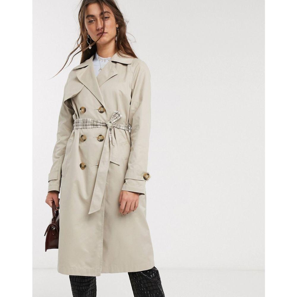 オンリー Only レディース トレンチコート アウター【trench coat with check lining in beige】Beige