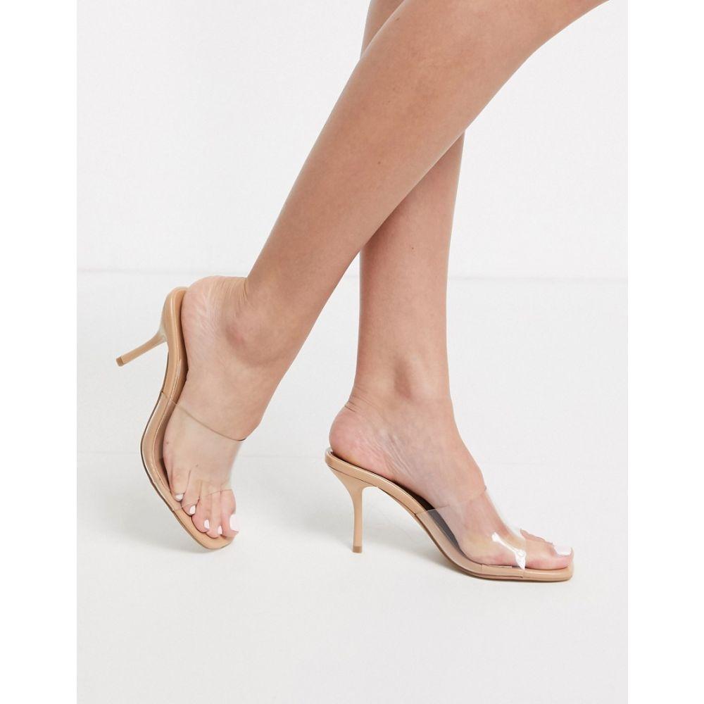 シミ SIMMI Shoes レディース サンダル・ミュール スクエアトゥ シューズ・靴【Simmi London Elise square toe clear mules】Beige patent