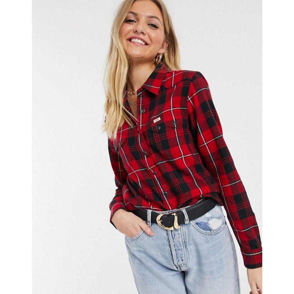 リー Lee Jeans レディース ブラウス・シャツ トップス【Lee regular fit western check shirt】Warp red