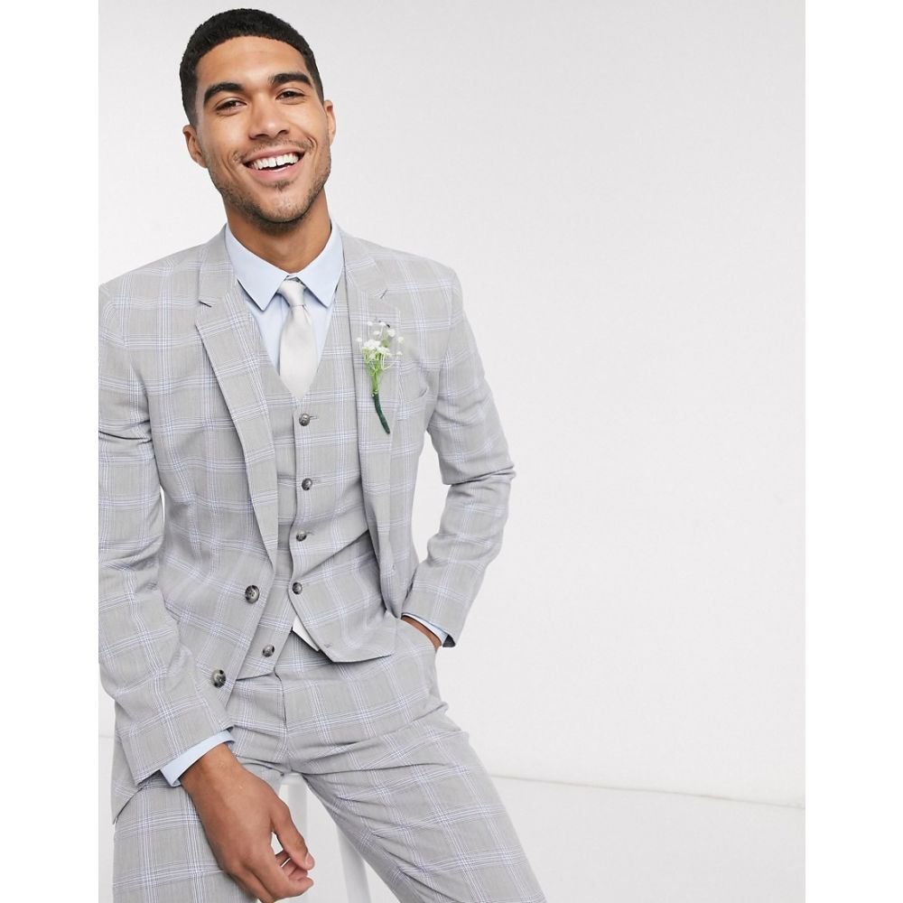 エイソス ASOS DESIGN メンズ スーツ・ジャケット アウター【Asos Design Wedding Skinny Suit Jacket In Blue And Grey Windowpane Check】Grey