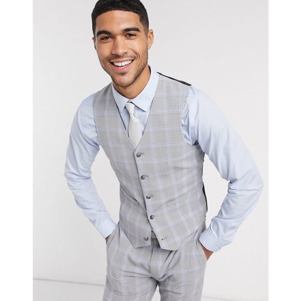 エイソス ASOS DESIGN メンズ ベスト・ジレ トップス【Asos Design Wedding Skinny Suit Waistcoat In Blue And Grey Windowpane Check】Grey