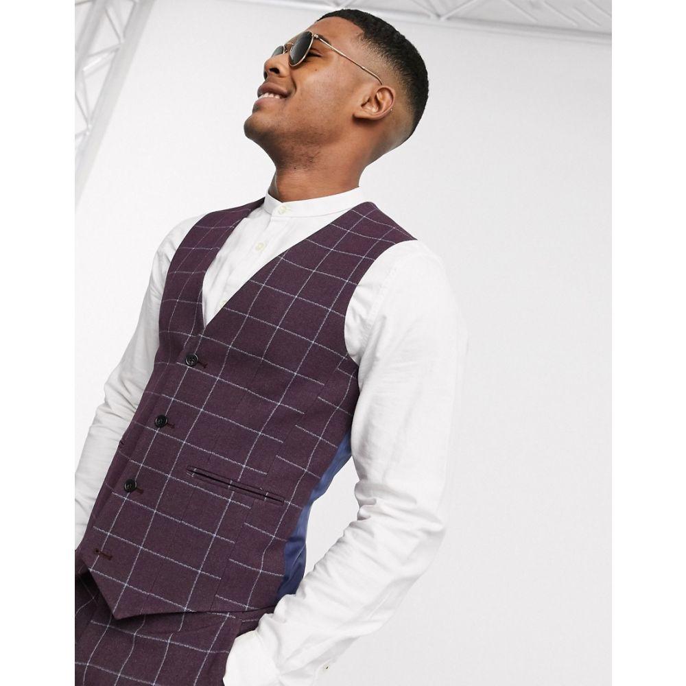 エイソス ASOS DESIGN メンズ ベスト・ジレ トップス【Asos Design Wedding Super Skinny Suit Waistcoat In Burgundy Check】Burgundy