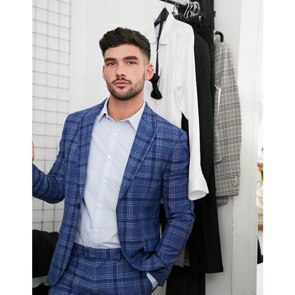 トップマン Topman メンズ スーツ・ジャケット アウター【Skinny Fit Checked Suit Jacket In Blue】Blue