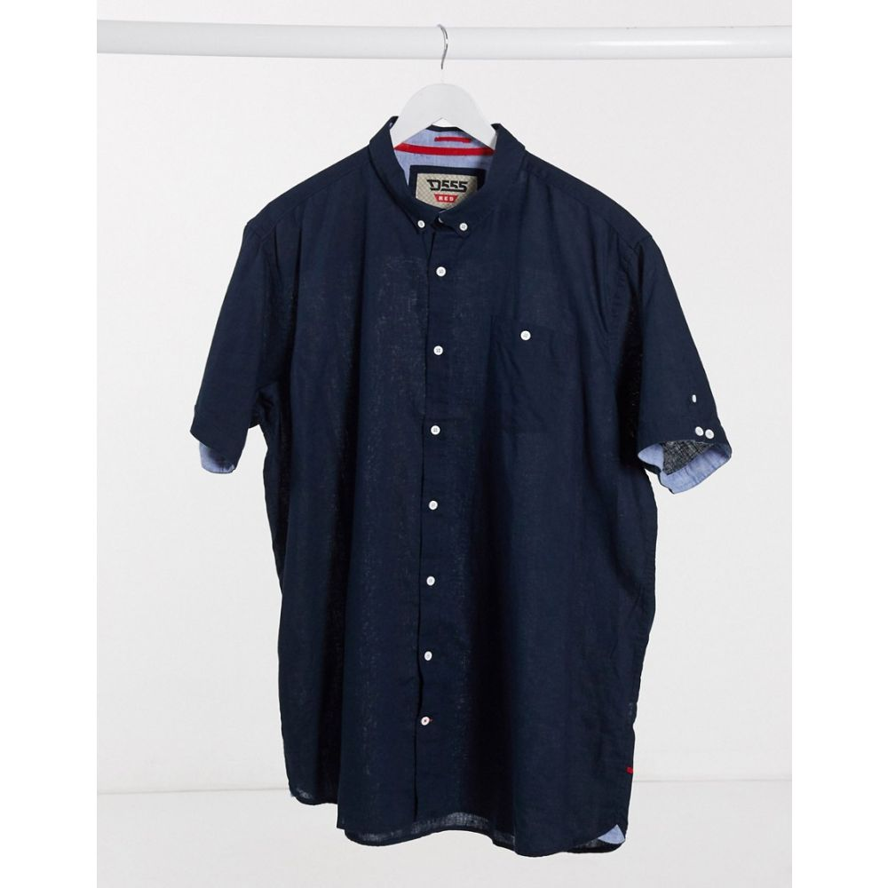デューク Duke メンズ 半袖シャツ トップス【S/S Linen Blend Button Down Collar Shirt With Pocket】Navy