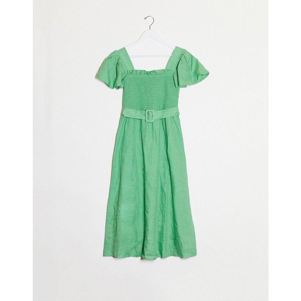 アンドアザーストーリーズ & Other Stories レディース ワンピース ミドル丈 ワンピース・ドレス【Linen Square Neck Belted Midi Dress In Green】green