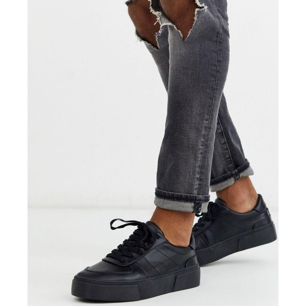 エイソス ASOS DESIGN メンズ スニーカー チャンキーヒール シューズ・靴【Asos Design Trainers In Black With Chunky Sole】Black