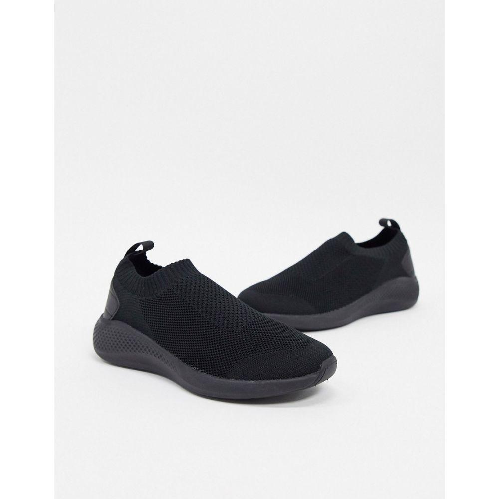 エイソス ASOS DESIGN メンズ スリッポン・フラット シューズ・靴【Asos Design Slip On Sock Trainers In Black】Black