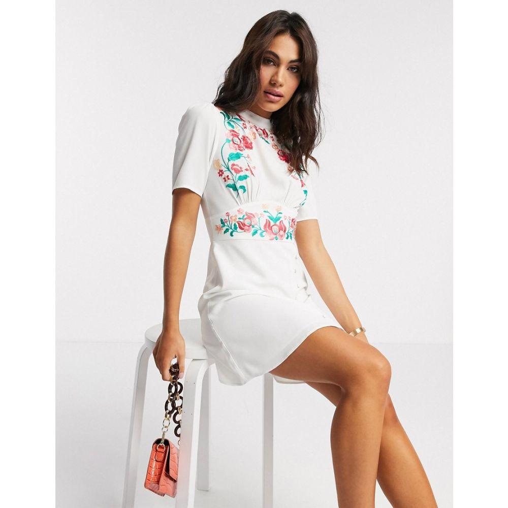 エイソス ASOS DESIGN レディース ワンピース ミニ丈 ワンピース・ドレス【Asos Design Embroidered Mini Tea Dress In White】White