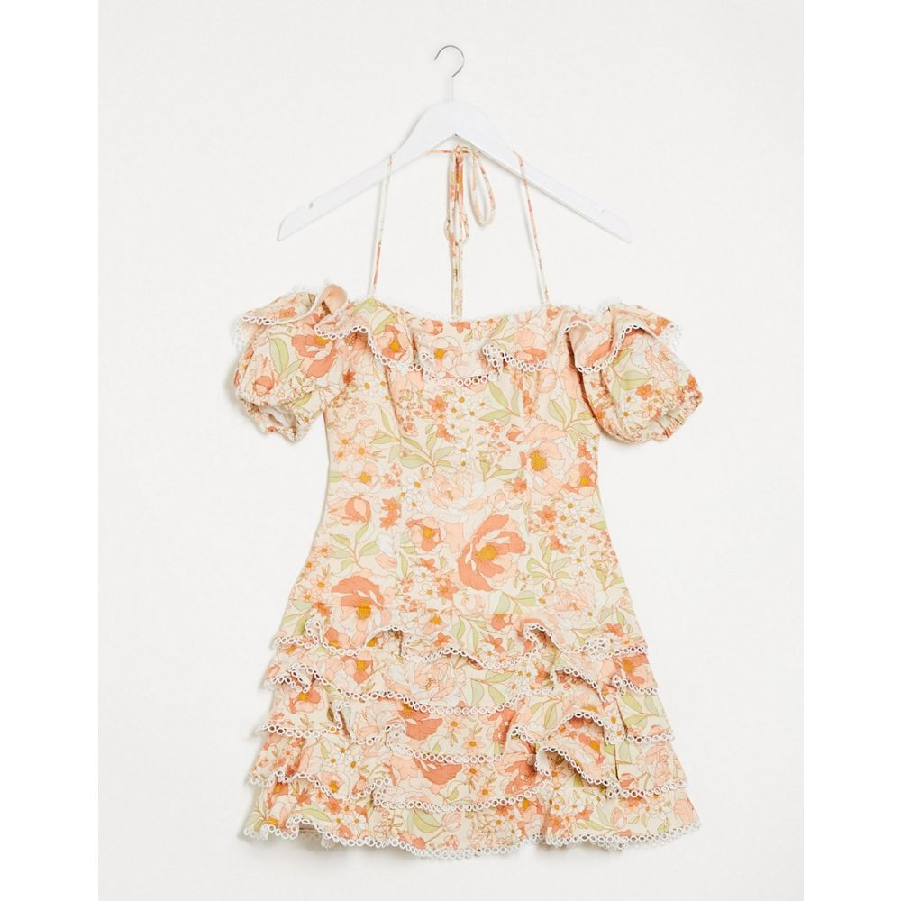 バルドー Bardot レディース ワンピース ミニ丈 ワンピース・ドレス【Ruffle Off Shoulder Mini Dress With Frill Detail In Taupe Rose】Taupe rose