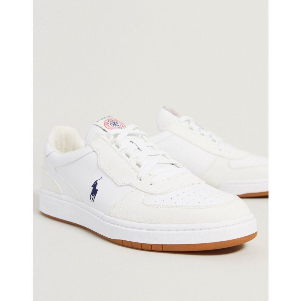 ラルフ ローレン Polo Ralph Lauren メンズ スニーカー シューズ・靴【Trainers In White With Navy Logo】White/navy pp
