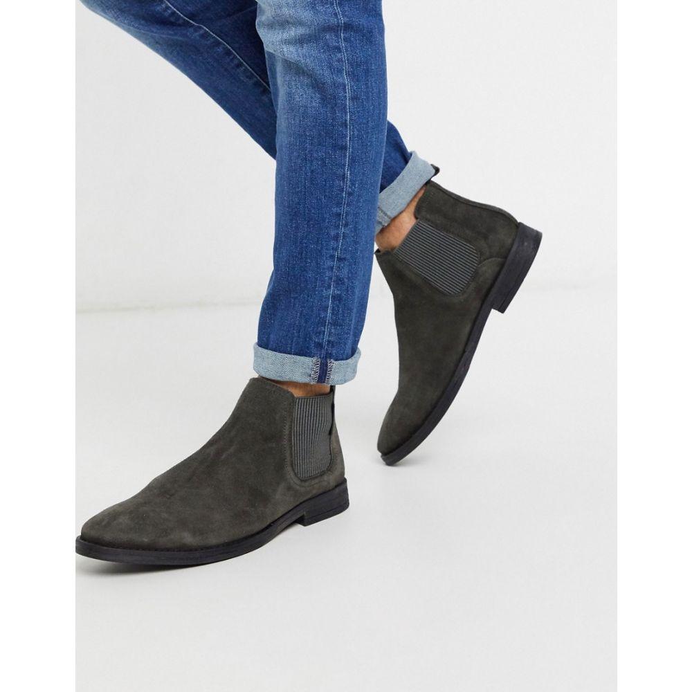 リバーアイランド River Island メンズ ブーツ チェルシーブーツ シューズ・靴【Suede Chelsea Boot In Grey】Grey