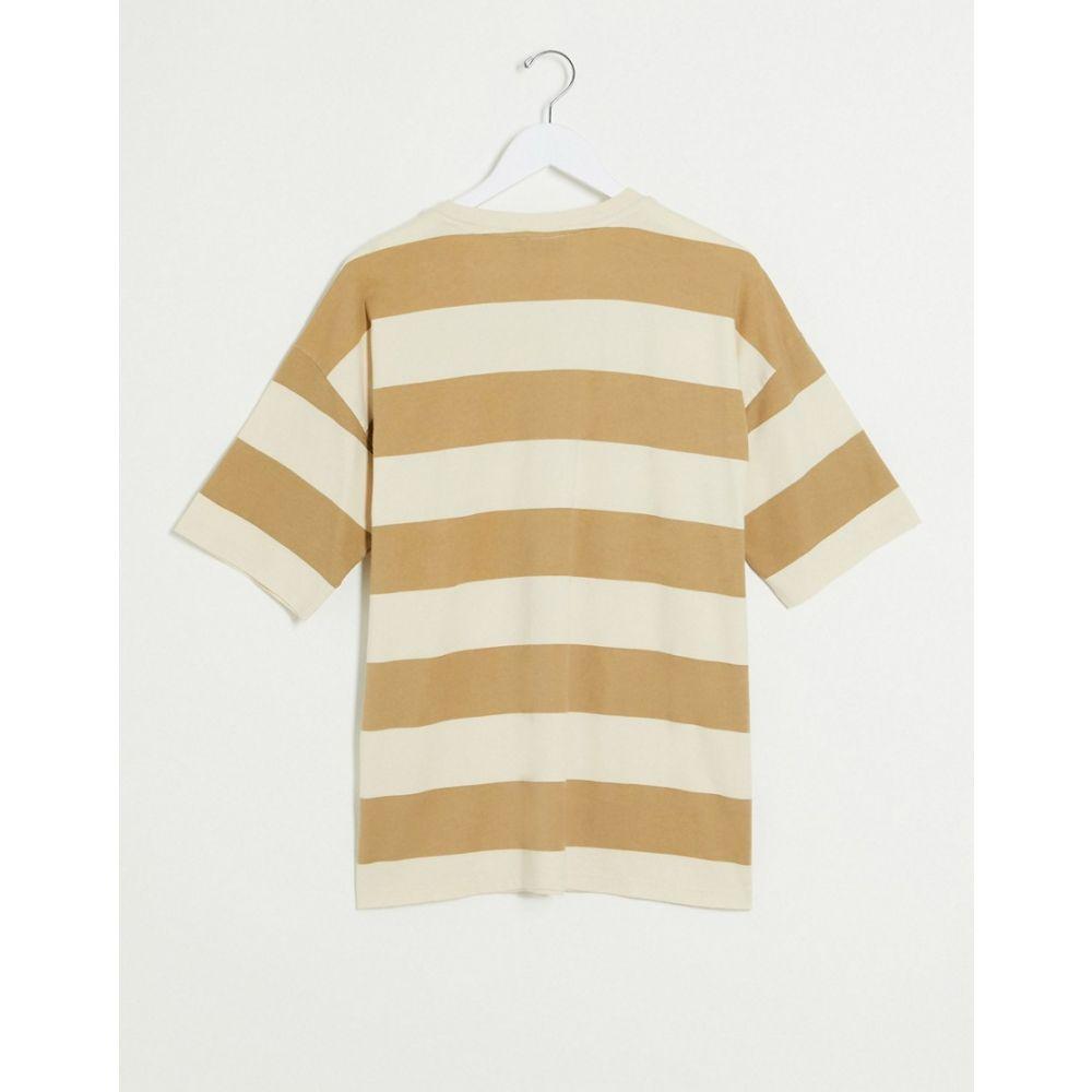 エイソス ASOS DESIGN レディース Tシャツ トップス Asos Design Oversized T Shirt In Tonal Washed Stripe Beigegbfy7Y6