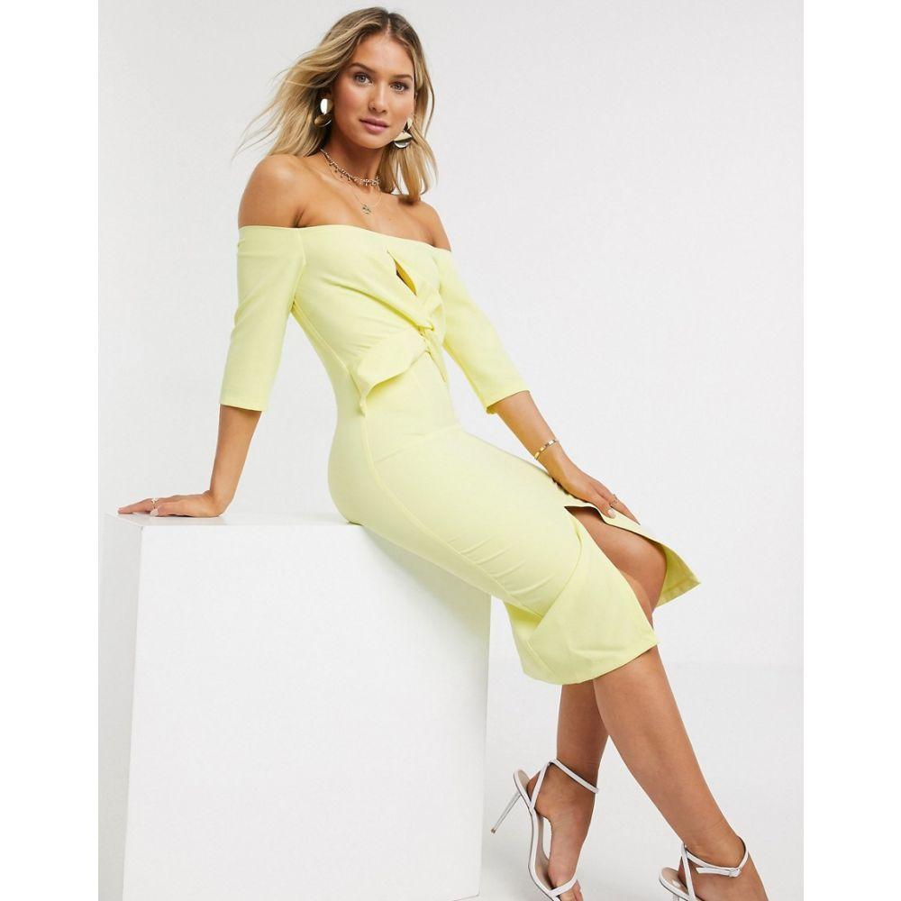 ペーパー ドールズ Paper Dolls レディース ワンピース ワンピース・ドレス【Montana Twist Front Bardot Dress In Lemon】Lemon