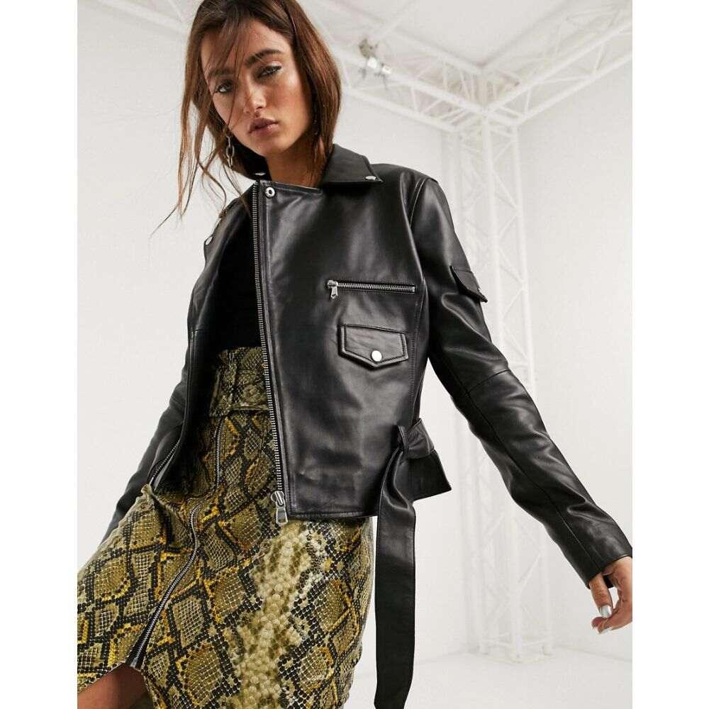 バーニーズ オリジナル Barneys Originals レディース レザージャケット アウター【Barney'S Originals Boxy Leather Jacket With Belt In Black】Black